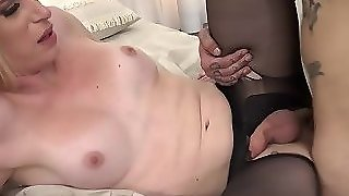Blonde T-Girl Gets Fucked By Stepbrother