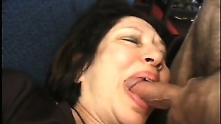 Busty Mature Woman Has Two Horny Young Guys Fucking Her Hairy Pussy On The Couch