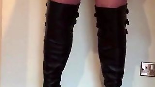 High Heel Boots Tartan Skirt With Quick Cum