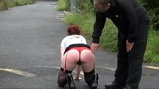Spanking, Chubby Lingerie, Outdoor Chubby, Spanking Her, Red Head Spanked, Spanking Lingerie, Chub By, Redhead Spanked