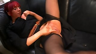 Red-Haired Milf Masturbates In Storeroom