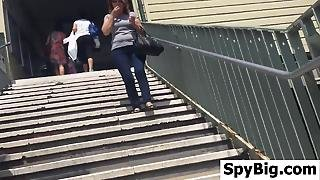 Public Upskirt On The Stairs