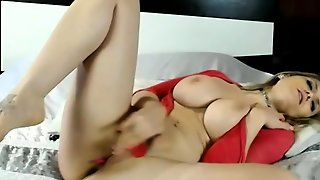 Blonde Slut With Big Tits Teases In Red Lingerie