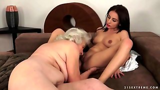 Pretty Teen Loves A Busty Granny And Her Pussy