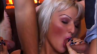 Hot Blonde In Group Sex