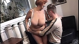 Big Tits Granny Gets Her Cunt Fingered, Her Tits Licked, And Blows His Rod