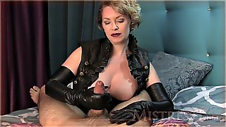 Mistress Leather Gloves Handjob