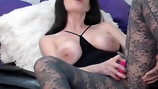 Busty Mature In Transparent Pantyhose Toys Vagina On Webcam