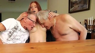 Straight, Table, Old And Young, Grandpa, Blowjob, Hd, Mmf, Shaved Pussy, Babes, Beauty, Pussy Licking