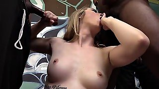 Dainty Blonde Babe Gets A Creampie Facial After Getting Her Pussy Gang Banged By Big Black Cocks
