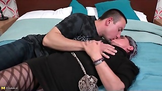 Granny In Pantyhose Makes Out With A Young Guy