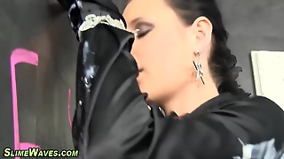 European Rubs Her Pussy