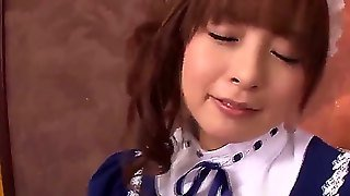 Hot And Sexy Asian Brunette Hottie With Petite Body In Her Maid Uniform Hirono Imai Gets Down On Her Knees And Pelases Her Boss With A Nice Blowjob Session In A Point Of View.
