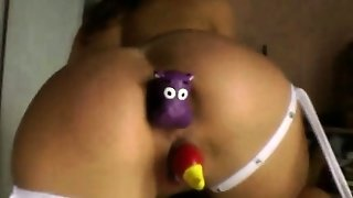 Hoe Squeezes Toy From Ass And Pussy