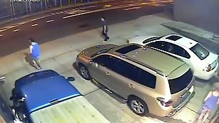 A Boozed Girl Pissing In Publick In The Underground Parking Lot