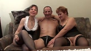 Two Grandmas Play With A Cock & Each Other