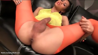 Ladyboy In Pantyhose Fingered In The Asshole