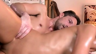 Oiled Couple In Massage Room Oiled Cumshot