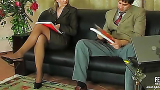 A Woman In A Jacket With A Man Fucks