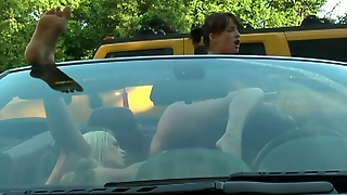 Lesbians Hotties In Action In A Car