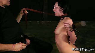 Anorexic Brunette Whore Gives Blowjob To Massive Cock Of Old Pervert