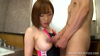 Japanese Girl In Swimsuit Giving Head After Getting Oiled Up