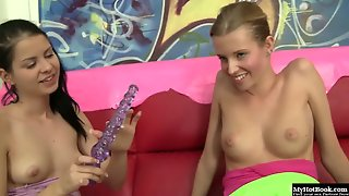 Lesbian Teens Angel Hott And Judy Smile, Are Sitting On Their Leather Couch,