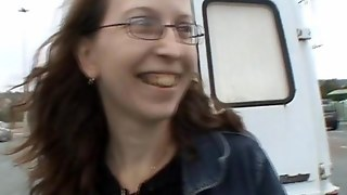 This Ugly Slut Is Gangbanged Into A Van
