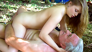 Nasty Sleaze Teenager Have Sex With Old Man In The Forest