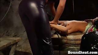 Slave Young Girl Bounded And Whipped Byt Latex Ladies
