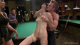 Mouth Fuck, Bdsm, Round Ass, Ropes, Brunette, Public, Stick With Dildo, Billiards, Fingering, Blindfolded, Hd