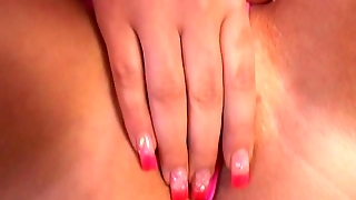 Pink Painted Nails Plays With Pink Pussy