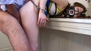 Oriental Cheerleader Sucking Cock On Her Knees
