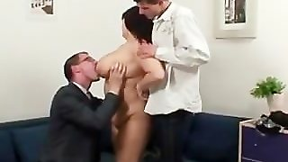 Two Guys Stick Their Dicks In Mature Womans Mouth