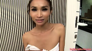 Tiny Ladyboy Nok Buttplug And Masturbation