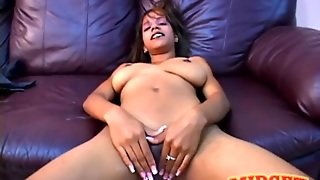 Big Breasts Girl With Long Fingernails Plays