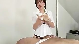 Slave Cums On Dominas Big Tits