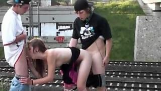 Cute Teen Girl In A Railroad Public Orgy Gang Bang In Broad Daylight