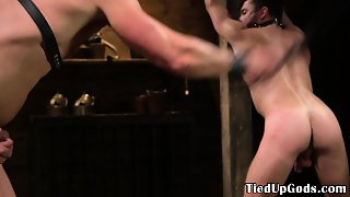 Gagging Bdsm Stud Gets Whipped By Gay Dom