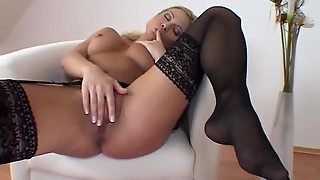 Black Lace Lingerie On Stripping Blonde