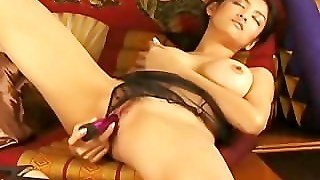 Busty Hot Asian With Her Purple Toy