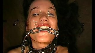 Dirty German Bitch With Long Dark Hair, Nice Big Tits And A Shaved Pussy Getting Face Fucked