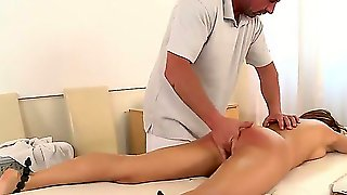 Sexy Whore Leyla Black Dominated, Fixed And Fucking Disgraced On The Massage Table!
