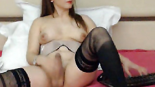 Shemale Ultra Babe Bares Cock For Hard Toying