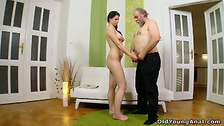 Sexy Teen Just Can't Get Enough Of An Old Man's Cock