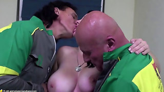 Big Titted Teen Doing Two Old Men