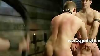 Suspended And Tied Up Gay Slave Gets His Asshole Probed And Fucke