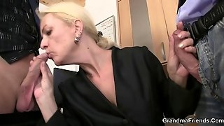 Mature Swallows Two Cocks For Work