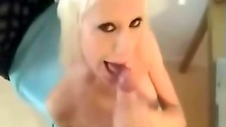 Fake Blonde And Fake Tits Sucking Cock On Webcam
