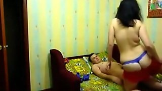 Russian Brunette Sucks And Rides Her Bf On The Bed And On A Chair